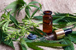 Medicinal cannabis with extract oil in a bottle on sackcloth.