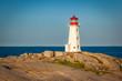 Leinwanddruck Bild - View of Peggy's Cove lighthouse at sunrise, Nova Scotia, Canada