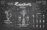 Vintage chalk drawing christmas menu design with champagne. Restaurant menu - 228829175