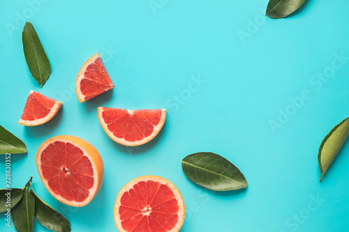 Top view of colorful orange fruit slice  on pastel background.concepts ideas of fruit,vegetable.healthy eating
