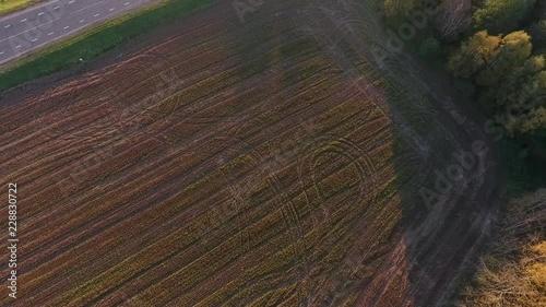 Sticker Autumn landscape in a rural area. Shot by drone