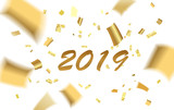 Template for banners, sites, advertisement, fliers, brochures, magazines. Abstract pattern of flying golden confetti with text 2019 on white background. Vector illustration.