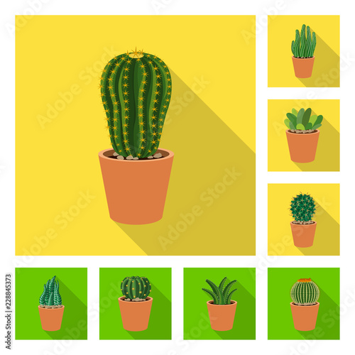 Wall mural Isolated object of cactus and pot symbol. Collection of cactus and cacti stock vector illustration.