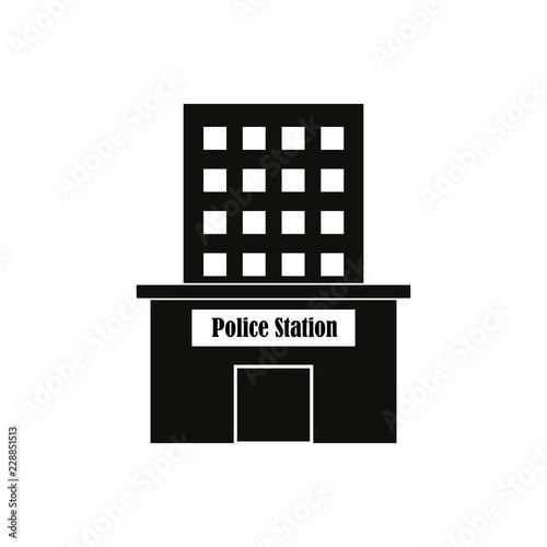 Poster police station building icon