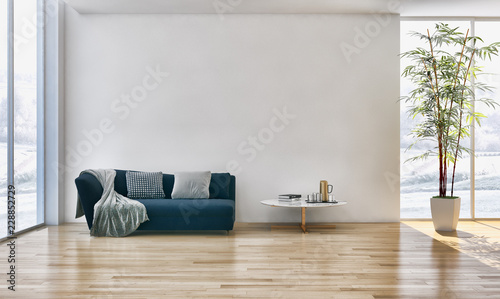 Leinwanddruck Bild large luxury modern bright interiors Living room with sofa plant and windows 3D rendering illustration computer generated image