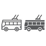 Trolleybus line and glyph icon, transport and public, traffic sign, vector graphics, a linear pattern on a white background.
