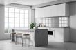 Leinwanddruck Bild - White kitchen interior with bar
