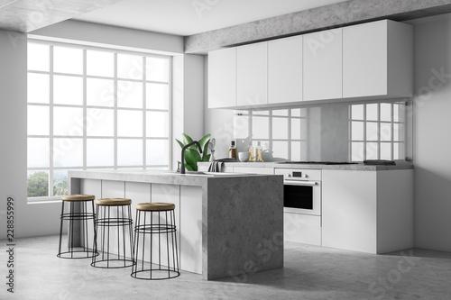 Leinwanddruck Bild White kitchen interior with bar