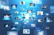 Leinwandbild Motiv Many business pictures interface, global