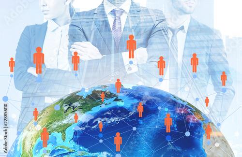 Leinwandbild Motiv Global people network, managers in city