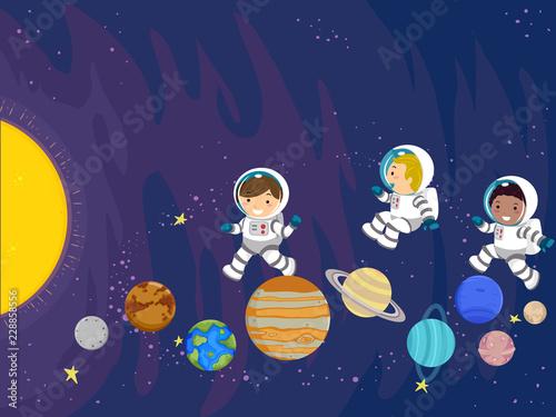 Stickman Kids Space Planet Play Illustration - 228858556