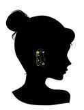 Silhouette Girl Ear Studs Illustration