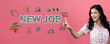 New job with young woman on a pink background