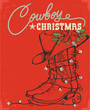 Western red christmas card with cowboy boot and decorative text