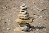 stack of stones on the beach - 228878735