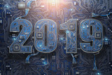 2019 on circuit board or motherboard with cpu. Computer technology and internet commucations digital concept. Happy new 2019 year. - 228879346