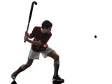 one caucasian field hockey player man isolated silhouette on white background - 228880394