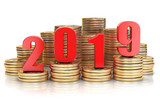 2019 New year on coins stack. Busines  success, prosperity and wallfare in new year concept. - 228880924