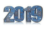 2019 on circuit board or motherboard with cpu isolated on white. Computer technology and internet commucations concept. Happy new 2019 year. - 228881990