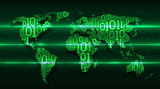Abstract map world with continents from digital binary code on the background abstract printed circuit board, concept of big data, global cloud service, digital technology