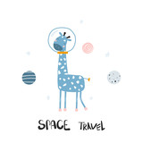 Funny giraffe in open space. Kids print. Vector hand drawn illustration. - 228907514