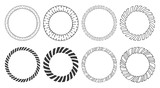 Set of hand drawn round frames. Tribal and geometric decorative design elements. Circle ornaments. Hand drawn clip art. - 228909777