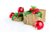 Christmas winter background with gifts, colored balls and christmas branches - 228910595