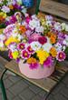 букет цветов в розовом вазоне, стоящий на стуле