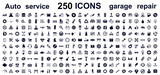 Auto service, car garage 250 isolated icons set – stock vector