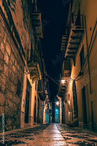 Night, ancient, historical city. Alcamo, Sicily, Italy - 228921308