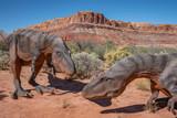 Dinosaurs grazing in the desert