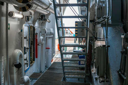 View of ship's or vessel deck. Marine job onboard.