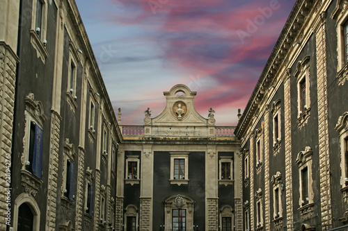 On the streets of Catania. Sicily, southern Italy. Baroque architecture. Unesco world heritage site - 228942761