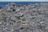 Background abstract view of zen stones on a rocky beach in rural Ireland - 228946952
