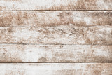 Vintage white wood background - Old weathered wooden plank painted in white color. - 228952548