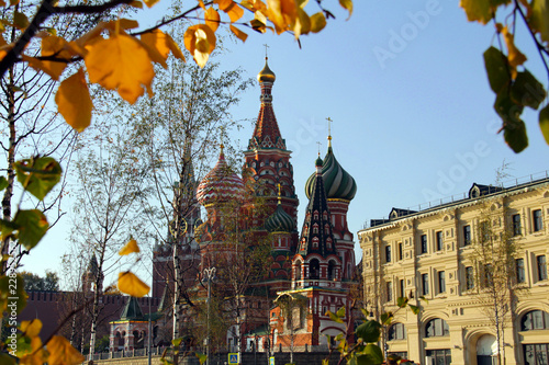Fridge magnet View of Saint Basil's Cathedral through birch trees in autumn. Moscow, October 2018.