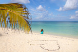 Lady on the caribbean beach, beautiful view, heart,  Cozumel - 228954137