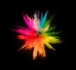 Leinwanddruck Bild - Colored powder explosion on black background