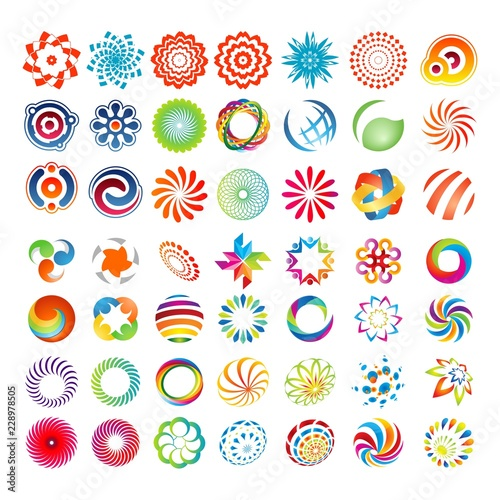 mega set colorful business logo design template - 228978505