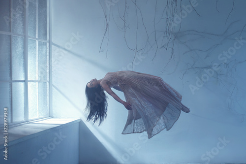 A ghost girl with long hair in a vintage dress. A photograph of levitation resembling a dream. A dark Gothic room with branches and a huge window of flooded light. Sleeping Beauty.