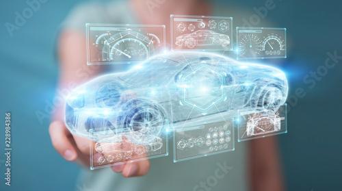 Businesswoman using modern smart car interface 3D rendering - 228984386