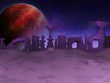 Cartoon alien planet  back ground  - 3D illustration