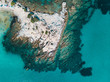 Aerial view of a rocky coastline