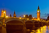 Big Ben and westminster bridge at dusk in London - 228989531