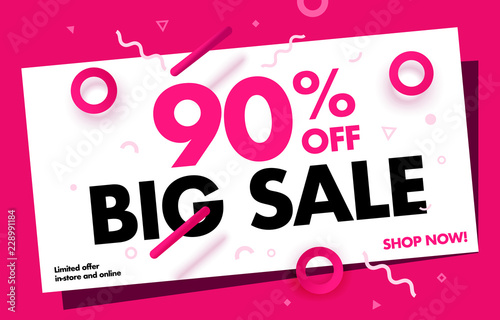 Super Sale Creative Banner 90 Off Sale Special Price Discount Up