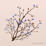 Colorful autumn branch with leaves. Vector illustration