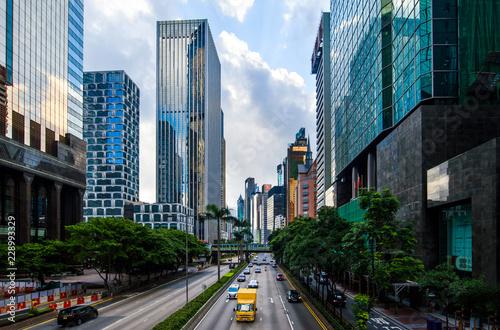 Morning traffic in Hong Kong downtown area
