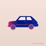Retro blue car icon. Vector illustration