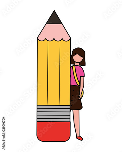 young woman with pencil supply