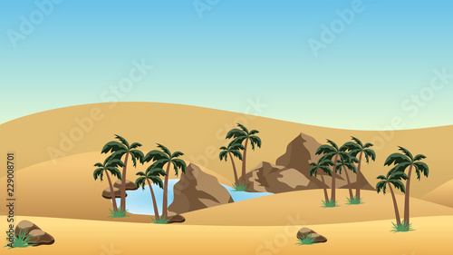 Desert landscape background with oasis